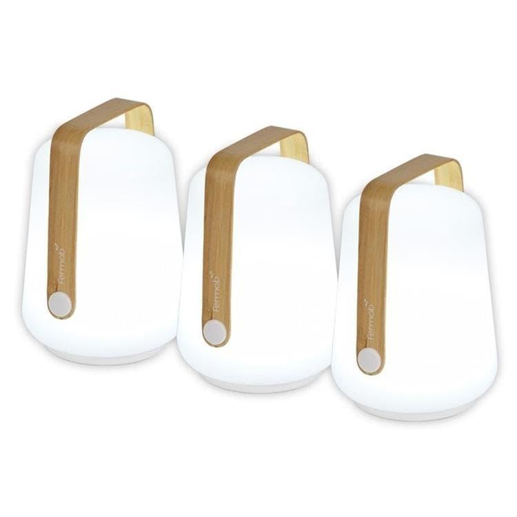 BALAD bambou Lot de 3 Lampes nomades LED d'extérieur H12cm