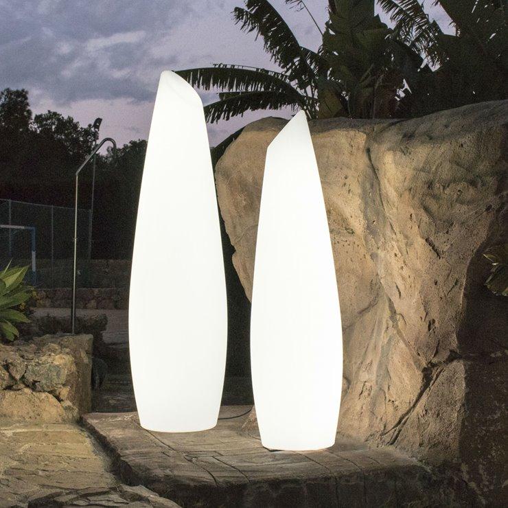 FREDO Blanc Lampadaire d'extérieur LED RGB rechargeable H170cm