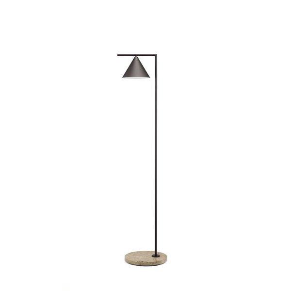 CAPTAIN FLINT OUT Marron profond/ Travertino imperial Lampadaire d'extérieur LED avec variateur Métal/Pierre H163cm