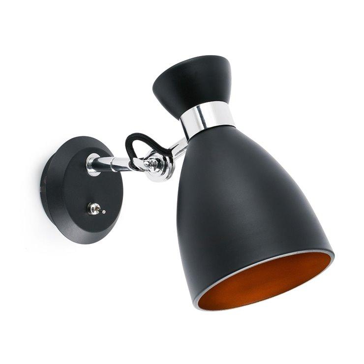 RETRO noir intérieur cuivre Applique Orientable Métal H19cm