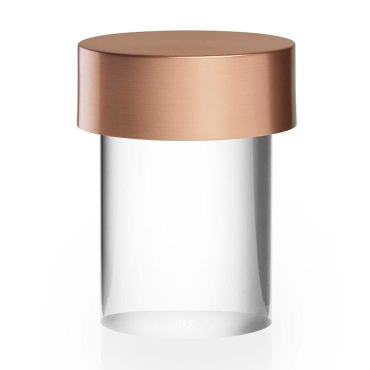LAST ORDER Cuivre Satiné Lampe à poser d'extérieur LED sans fil en Verre Transparent avec variateur H14cm