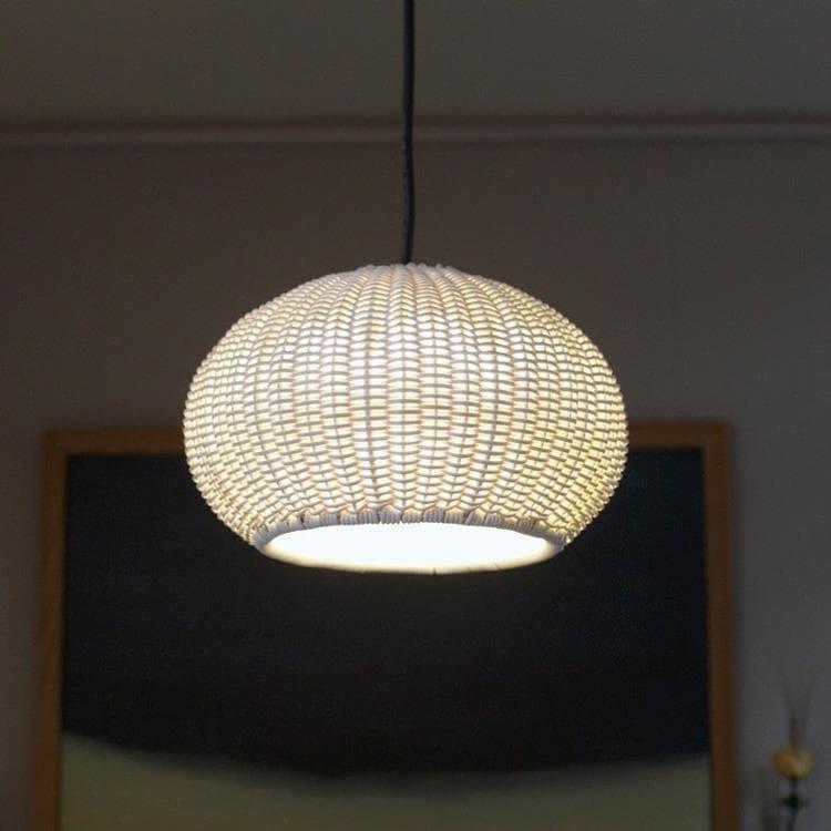 GAROTA blanc et tressé beige Suspension d'extérieur LED métal et tressé Ø27cm