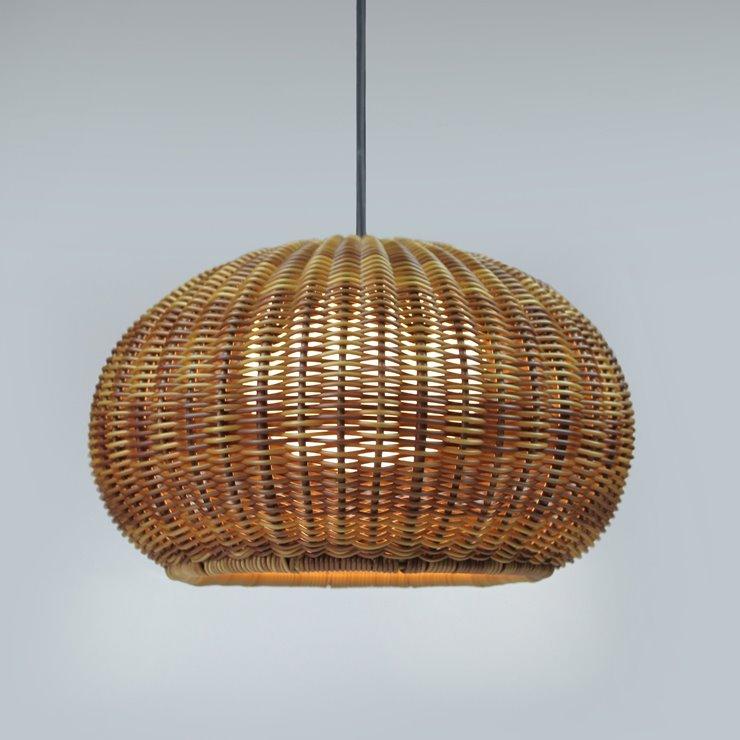 GAROTA brun graphite et tressé brun Suspension d'extérieur LED métal et tressé Ø27cm