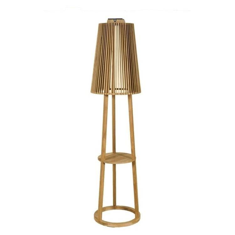 TINKA TECKA teck  Lampadaire d'extérieur LED rechargeable & solaire Bois H182cm