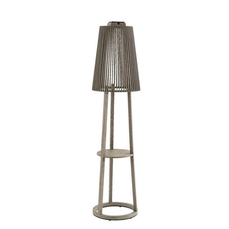 TINKA TECKA teck gris Lampadaire d'extérieur LED rechargeable & solaire Bois H182cm